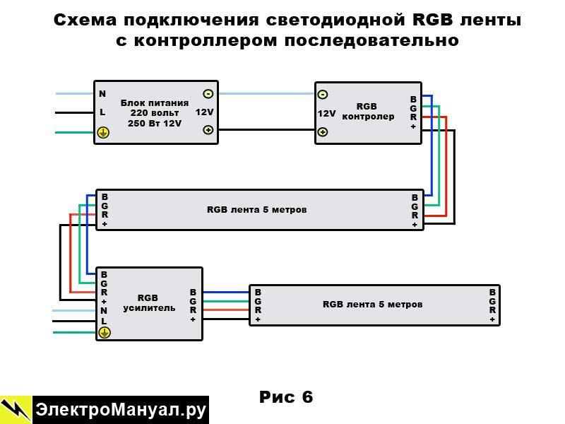Схема подключения светодиодной ленты и выключателя