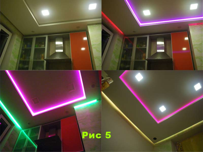 Подсветка светодиодной лентой потолка.