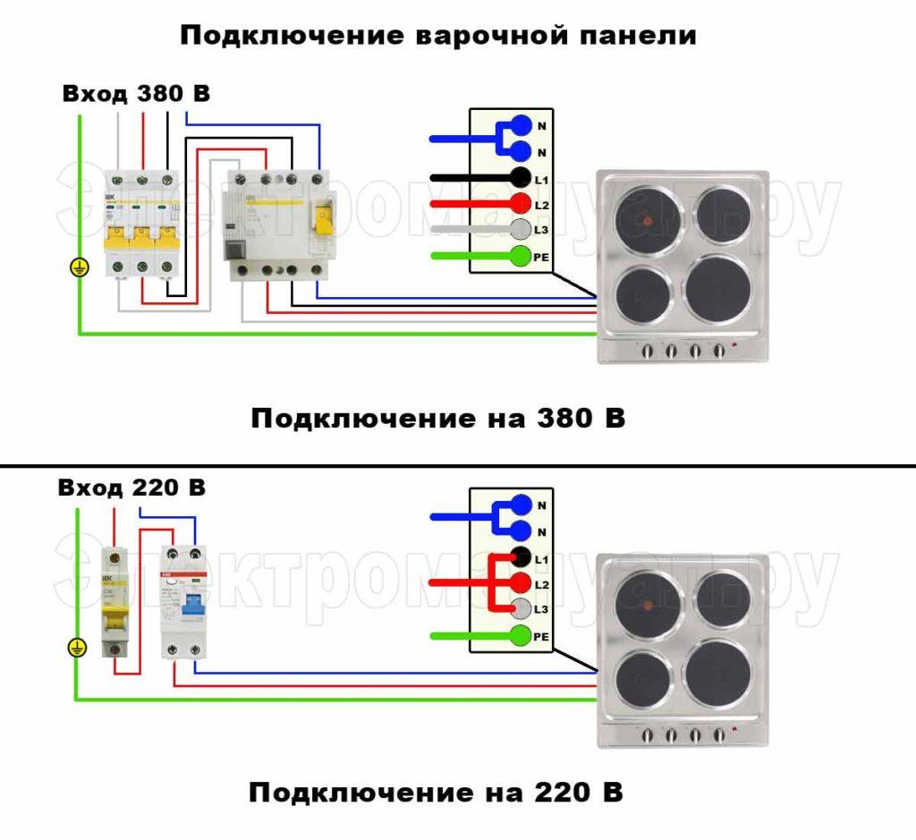 Схема подключения розетки варочной панели