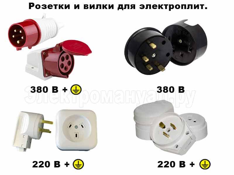 Розетки для подключения электроплит.