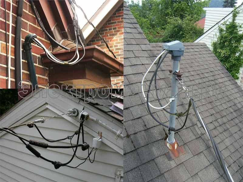 Ввод кабеля по воздуху.